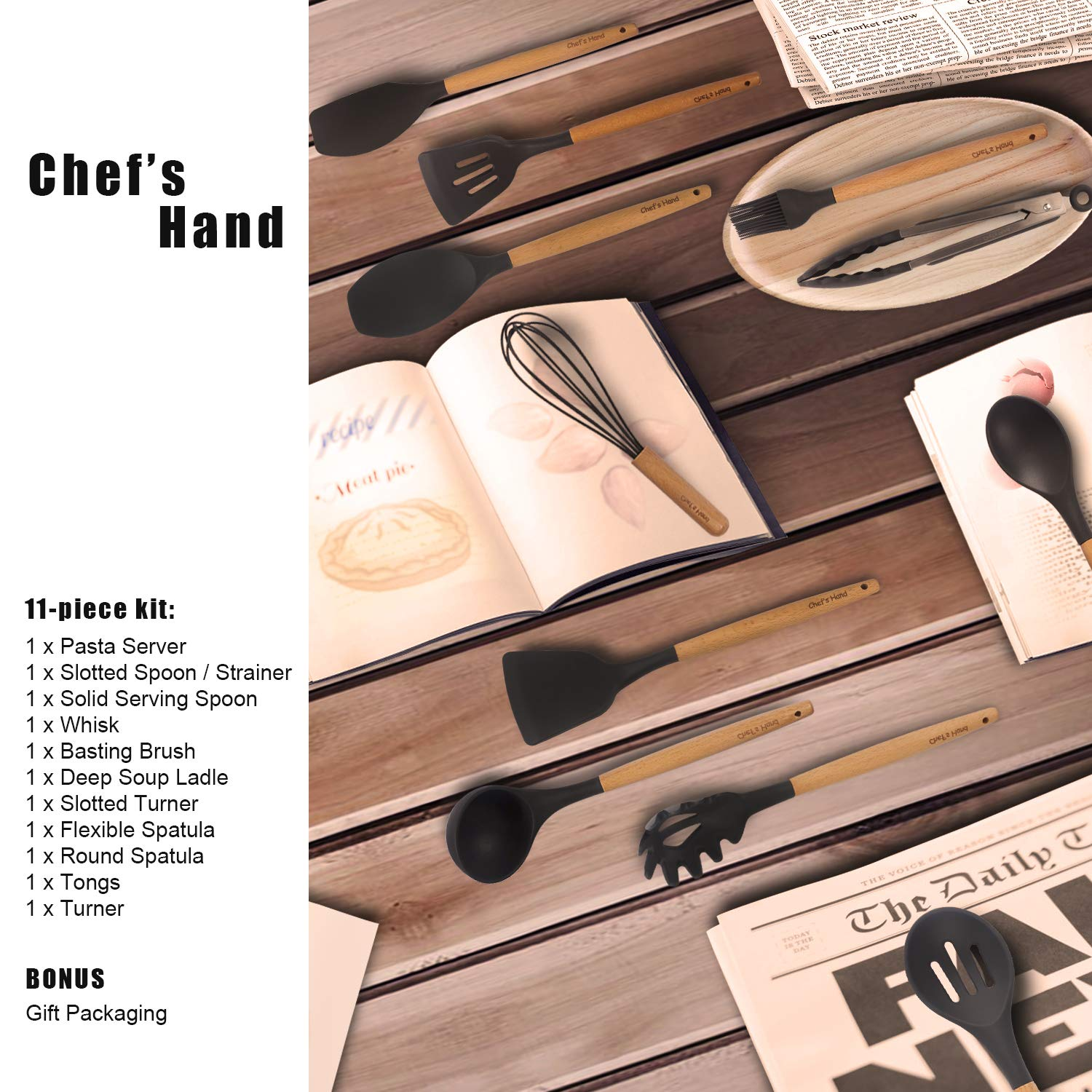 Kitchen Utensil Set - 11 Piece Cooking Utensils - Non-stick Silicone and Wooden Utensils. BPA Free, Non Toxic Turner Tongs Spatula Spoon Set. Best Chef Kitchen Tool Set Gray - Chef's Hand by Chef's Hand (Image #7)