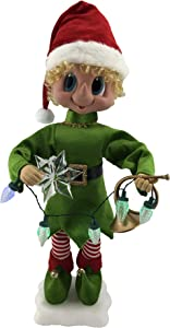 Fraser Hill Farm 28-in. Elf Figurine with Star, Horn, Lights, Animation, and Music (8 Songs) - Christmas Holiday Decoration