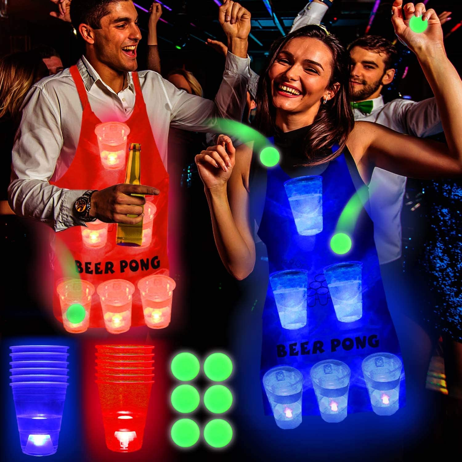 LED Beverage Pong Cups of Beer Pong Apron for House Parties Birthdays Concerts Weddings BBQ Beach DJ Holidays Six Senses Media Light Up Beer Pong Apron Fun Game