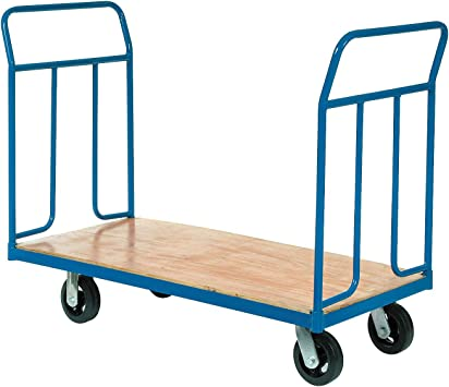 Amazon Com Wood Deck Platform Truck W Removable Handles 2400 Lb Capacity 6 Mold On Rubber Wheels Office Products