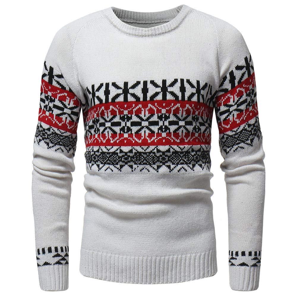 Sumen Men Autumn Winter Warm Knitted Retor Print Pullover Sweater Outwear