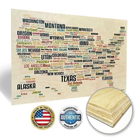 Amazon.com: ZENDORI ART \'USA Map\' Modern Wall Art - Made in USA ...
