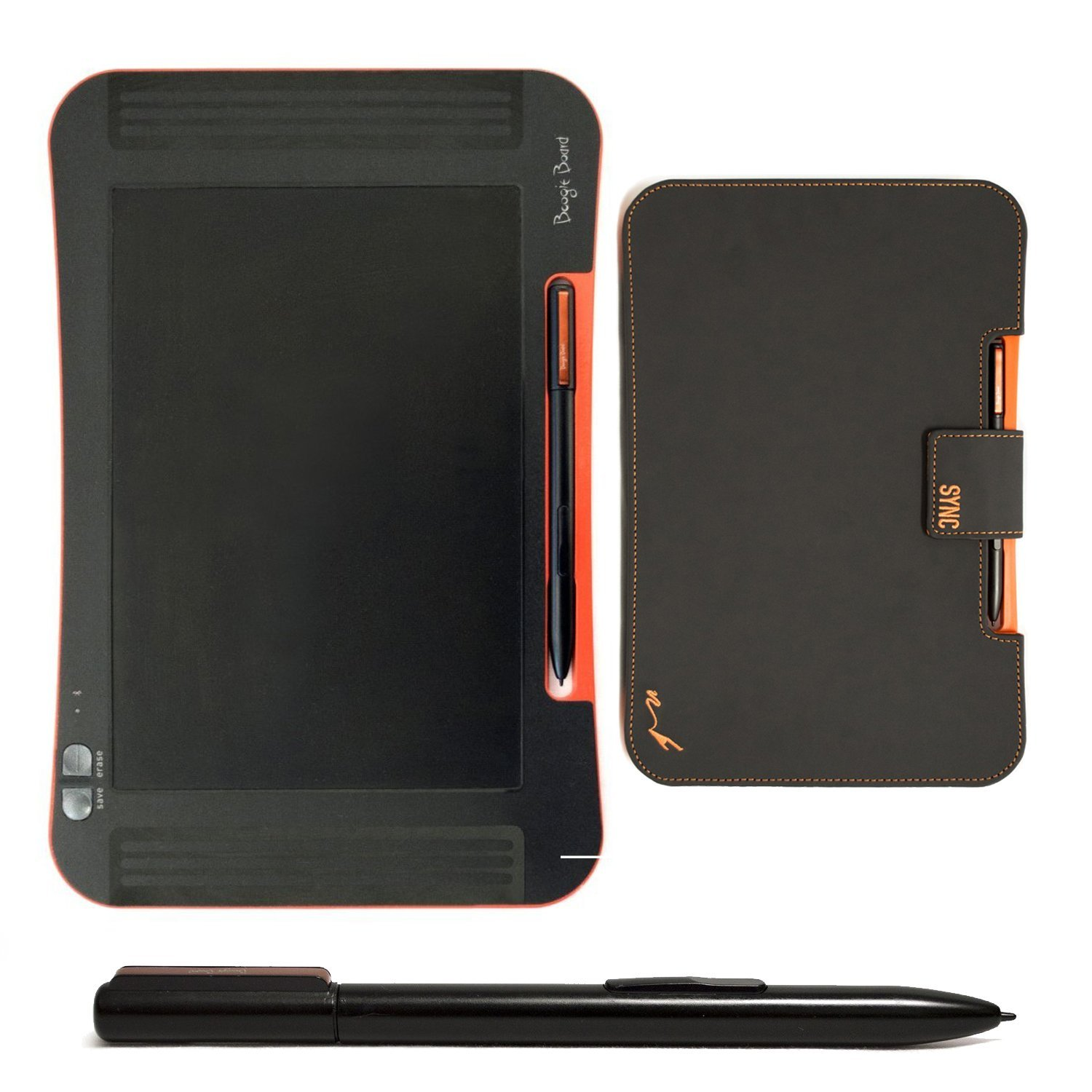 Boogie Board Sync 9.7-Inch LCD eWriter in Black and Orange with Folio Case and Replacement Stylus by Boogie Board