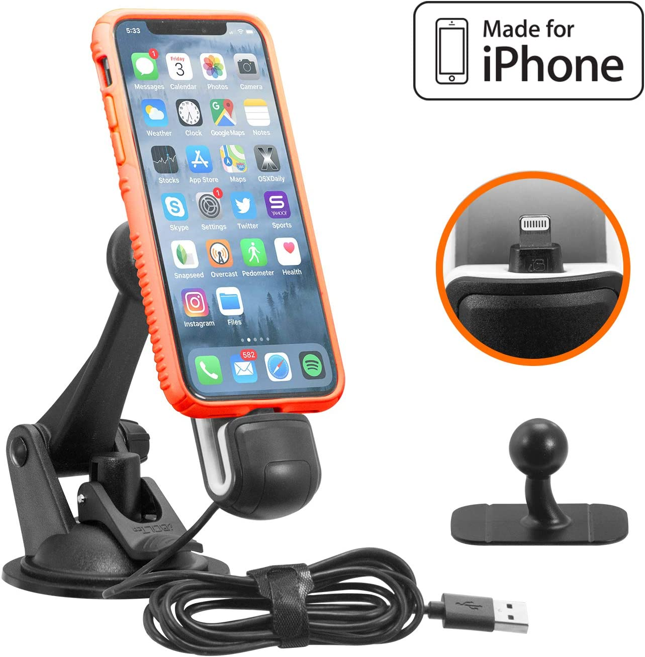 Apple MFI Certified ChargeDock- Magnetic Vehicle/Desktop Dock/Mount w/ 2 mounting Options. Works w/Most Phone and case Combinations (iPhone Xs/Xs Max/X / 8/8 Plus / 7/7 Plus / 6)