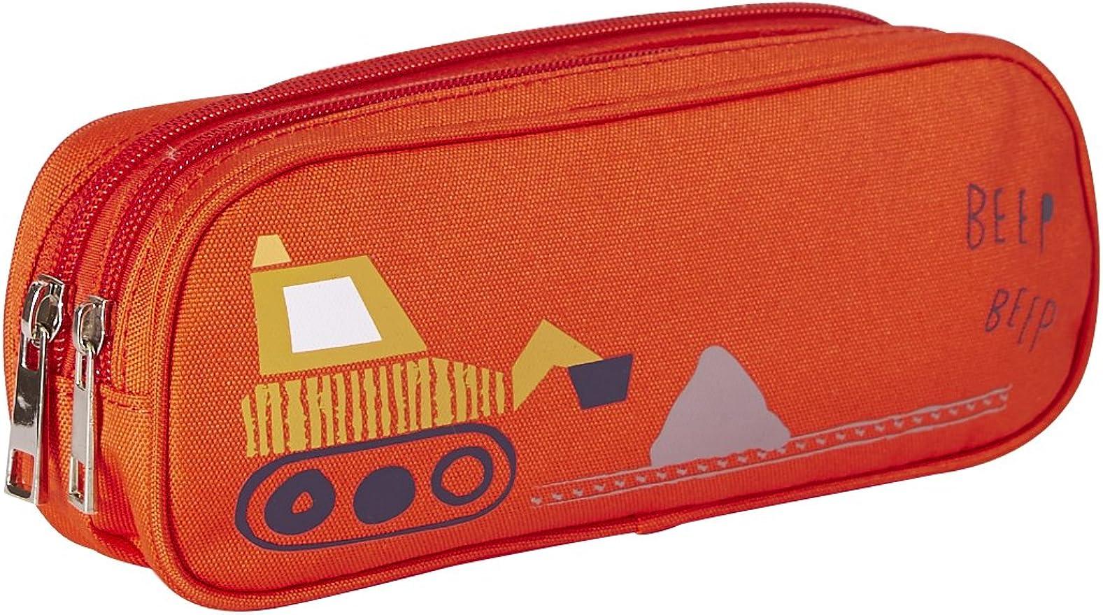 VERTBAUDET Estuche escolar niño motivo excavadora compartimento doble Rojo fuerte liso con motivos UNICA: Amazon.es: Ropa y accesorios