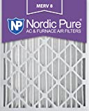 Nordic Pure 16x25x4M8-2 MERV 8 Pleated AC Furnace Air Filter, 16x25x4, Box of 2