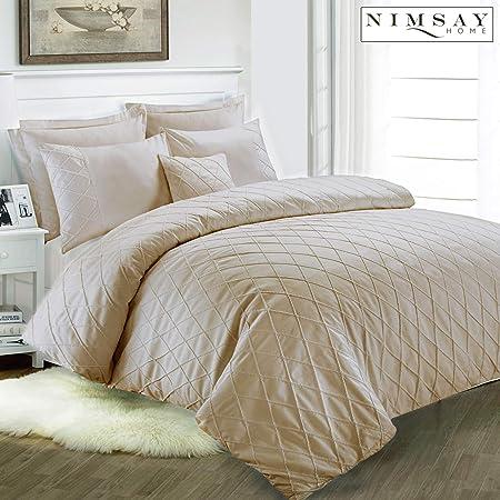 135 x 200 cm Coton Parure de lit 1 x 80 x 80 cm taupe Nimsay Home Jacob