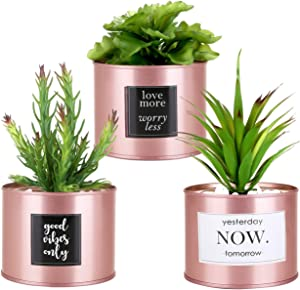 Kesote Artificial Plants Succulents Pots for Home Decor Indoor, Rose Gold Office Decor for Women Desk, Fake Desk Plant for Room Decor