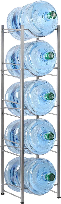 HAITRAL Water Gallon Jug Holder, 5 Tiers Heavy Duty Water Bottle Buddy Display Rack, Silver