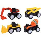 LEHII Toy Cars for Toddlers Boys Kids - Pull Back Halloween Truck and Car Party Favors for Kids, Construction Birthday Party Supplies, Mini Toy Cars for Toddlers Boys Girls ( 4 Pcs )