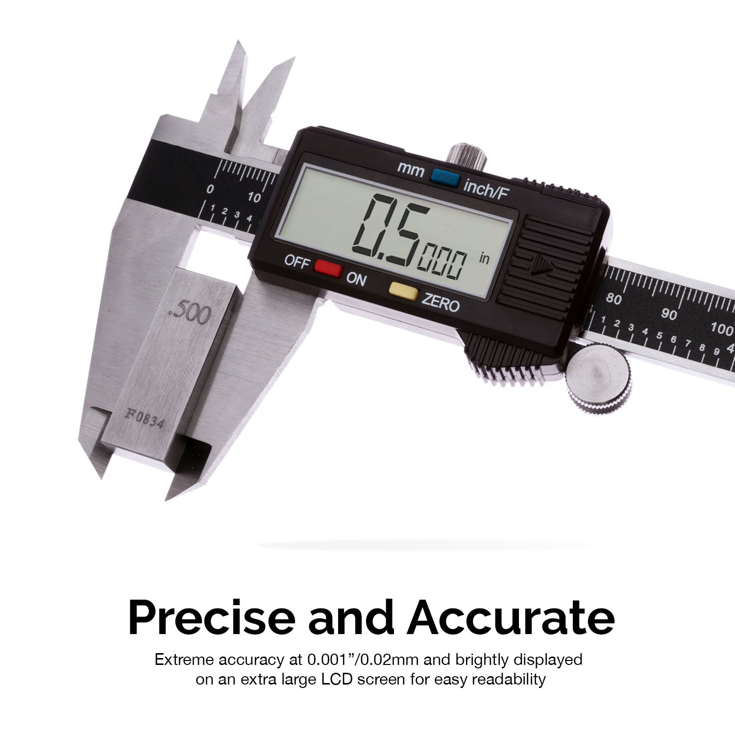 Inch//Fractions//Millimeter Conversion 0-6 Inches Neiko 01407A Electronic Digital Caliper Stainless Steel Body with Large LCD Screen