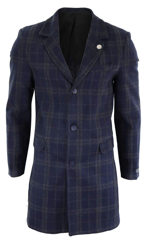 TruClothing.com Mens 3//4 Long Crombie Over Coat Jacket Wool Feel Check Peaky Blinders Slim Fit