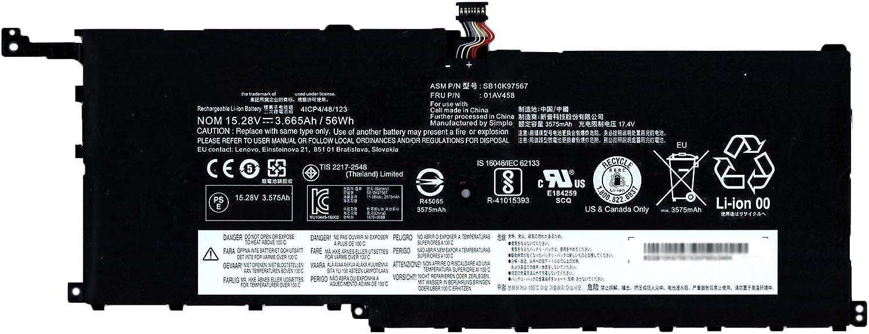 SUNNEAR 01AV458 SB10K97567 15.28V 56Wh 3665mAh Laptop Battery Replacement for Lenovo ThinkPad X1 Yoga 1st 2nd Gen X1 Carbon 4th Gen Series Notebook 01AV441 01AV440 00HW028 00HW029 01AV439 01AV457