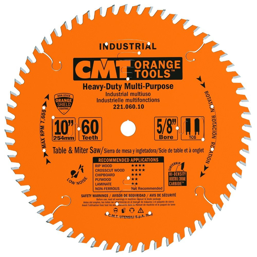 CMT 221.060.10 Industrial Cabinetshop Saw Blade, 10-Inch x 60 Teeth TCG Grind with 5/8-Inch Bore, PTFE Coating by CMT