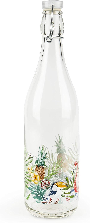 Excelsa - Botella Transparente con decoración Tropical, 1