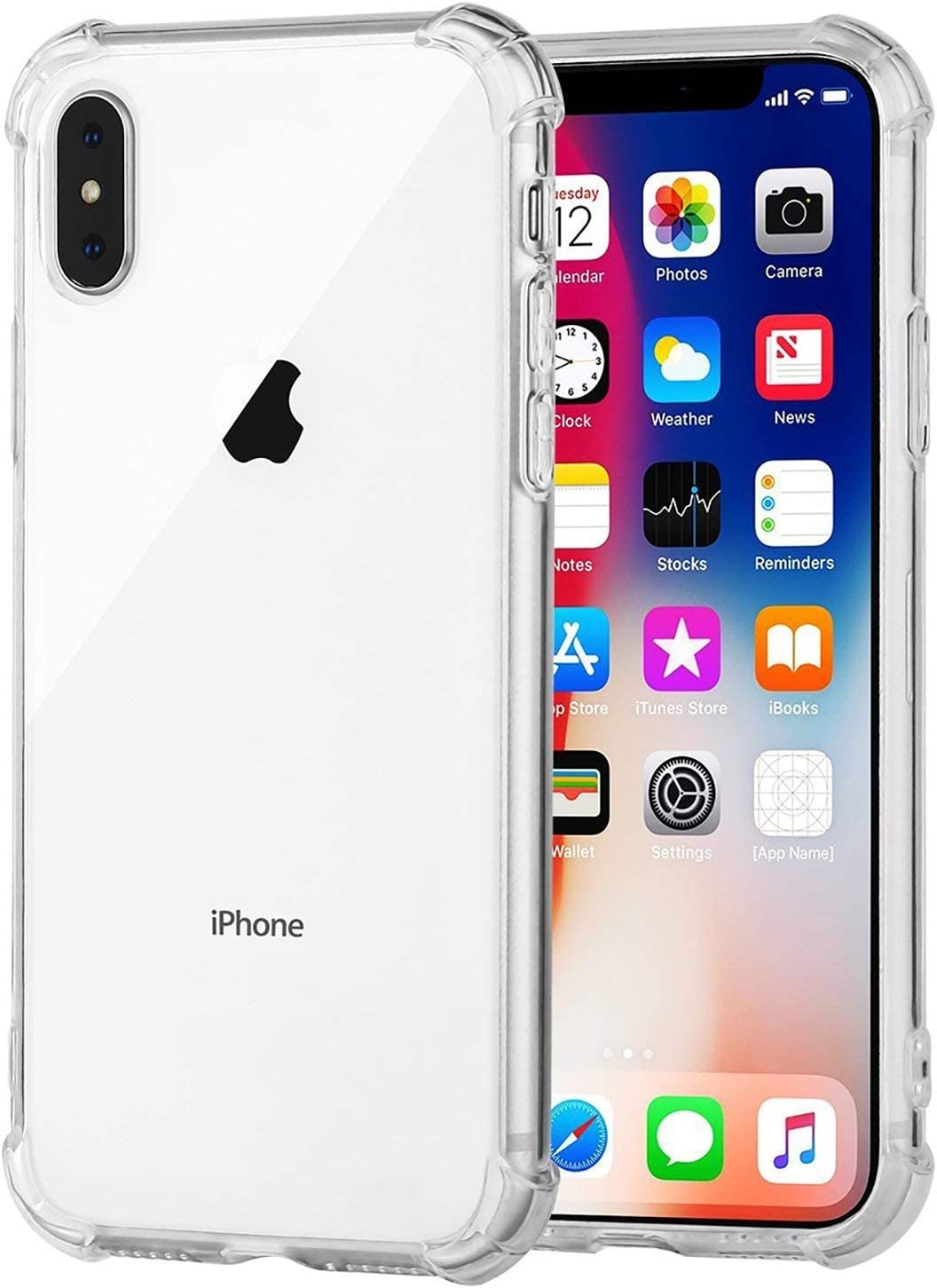 Speira Transparent Case with Reinforced Corners, [Anti-Discoloration] [No-Slip Grip] Compatible with iPhone Xs Max