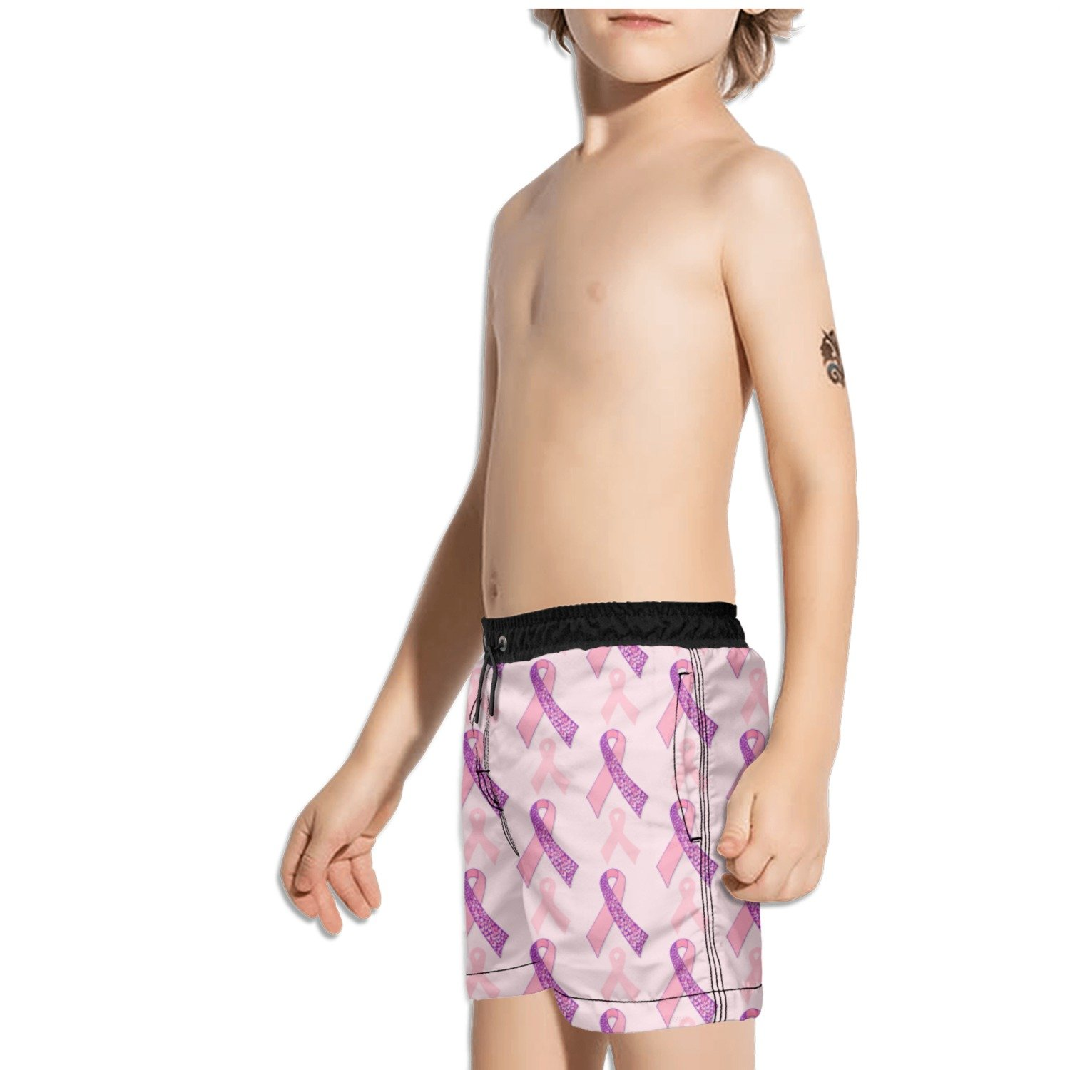 Ouxioaz Boys Swim Trunk Pink Purple Breast Cancer Beach Board Shorts