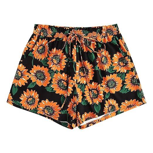 7d4defc19aa56 Pervobs Women Sexy Basic Shorts Summer Sunflower Print Elastic High Waist Short  Pants Casual Beach Shorts