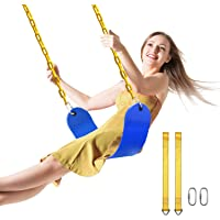PACEARTH Swing Seat Support 660lb with 68.9 inch Anti-Rust Chains Plastic Coated 23.6 inch Tree Hanging Straps and Locking Buckles Outdoor Playground Tree Swing-Blue