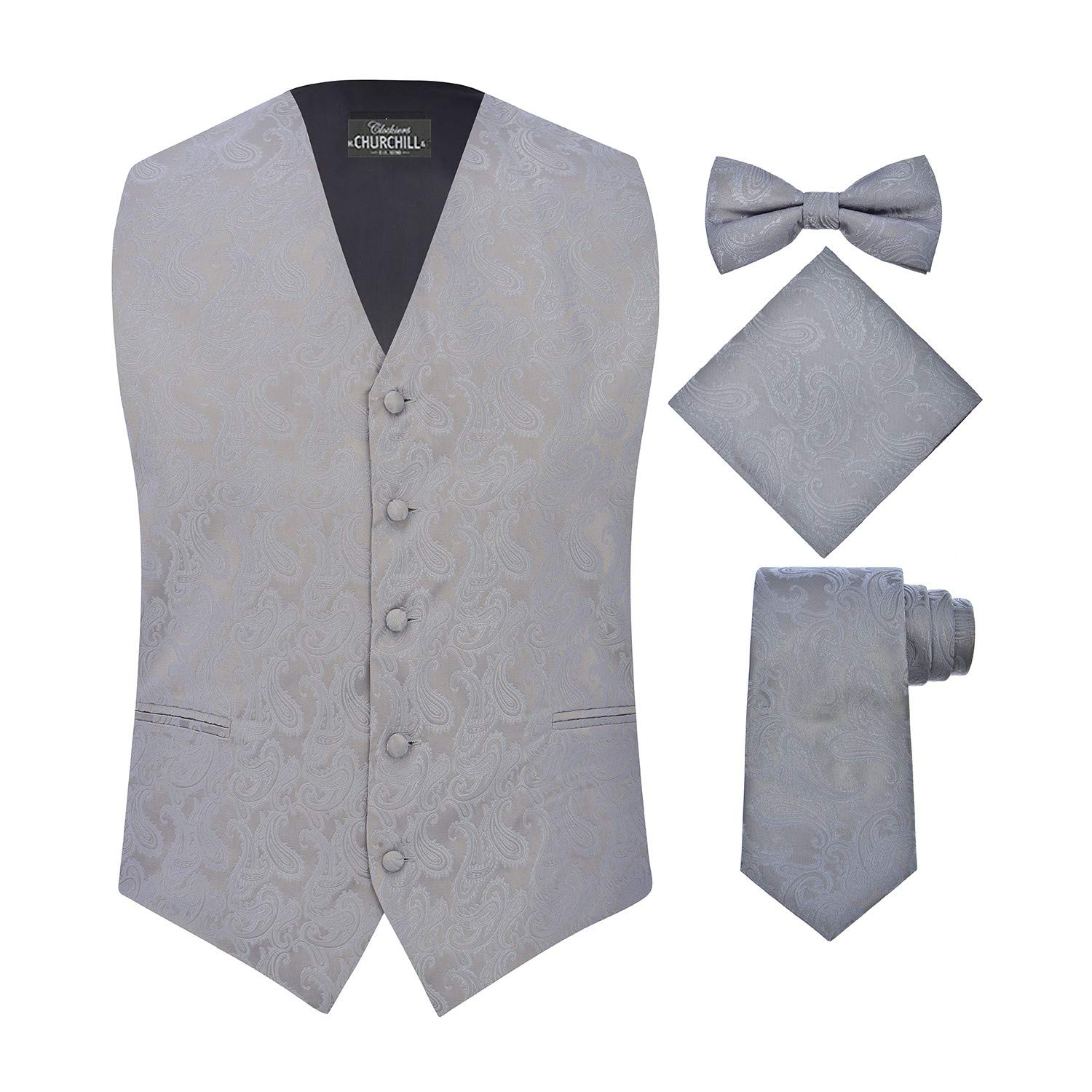 S.H. Churchill & Co. Men's 4 Piece Paisley Vest Set, with Bow Tie, Neck Tie & Pocket Hanky - (L, Silver)
