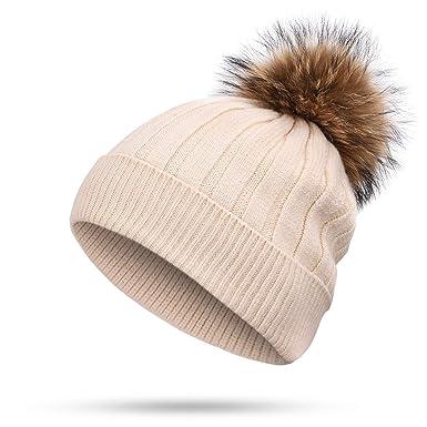 24f415d96cd Hot Ladies Rabbit Cashmere Beanie Hat Raccoon Fur pom poms Winter Woman Wool  Thicken Hedging Cap
