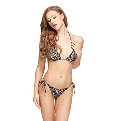 d206c2fed96 I-Glam Sexy Golden Print Leopard Triangle Top Brazilian Bikini Thong Bottom  Swimsuit S