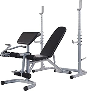 BalanceFrom RS 60 Multifunctional Workout Station Adjustable Olympic Workout Bench with Squat Rack, Leg Extension, Preacher Curl, and Weight Storage, 800-Pound Capacity, Gray