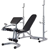 BalanceFrom RS 60 Multifunctional Workout Station Adjustable Olympic Workout Bench with Squat Rack, Leg Extension…