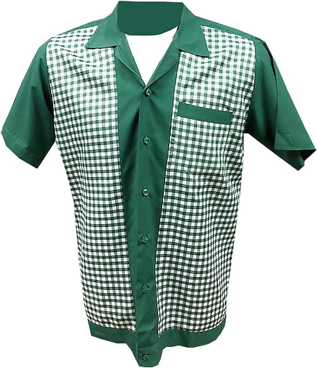 Rockabilly Fashions - Camisa casual - Liso - Manga Corta - para hombre Green, White XL: Amazon.es: Ropa y accesorios