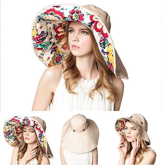2aaea4c52c6 Roffatide Women s Multiuse Dual Large Brim Beach Sun Hat Bucket Visor Cap  UPF 50+ Beige Floral at Amazon Women s Clothing store
