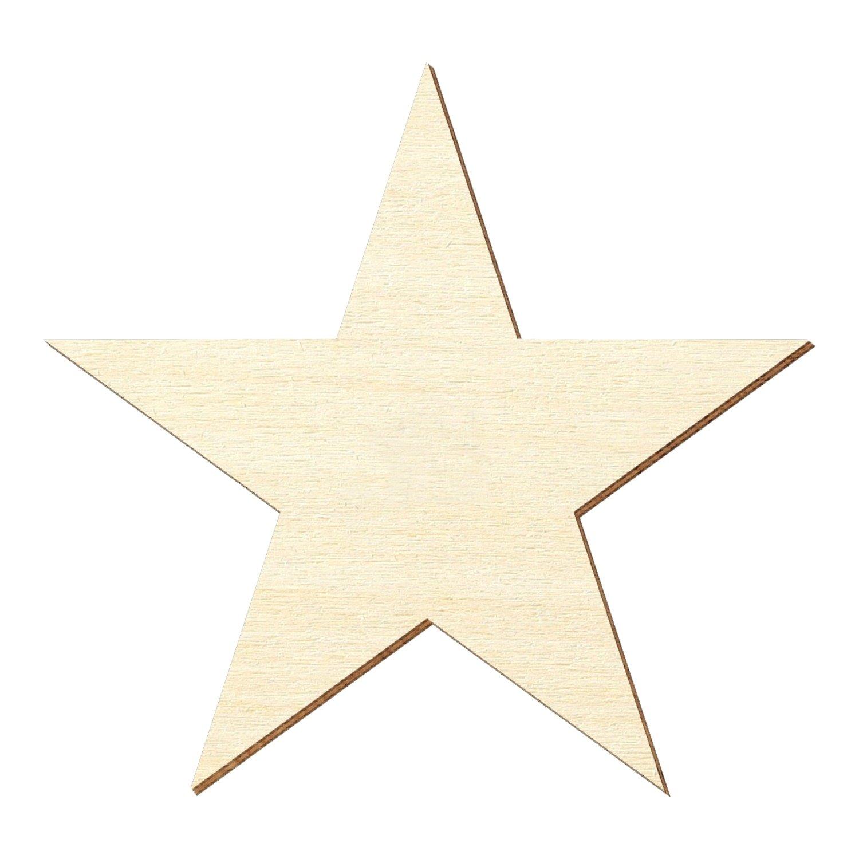Compensato zuschnitte–5ganasce Stella, stella di legno–Misura a Scelta–Pioppo 3mm, Compensato, Höhe 25cm. Breite 26.27cm Bütic GmbH