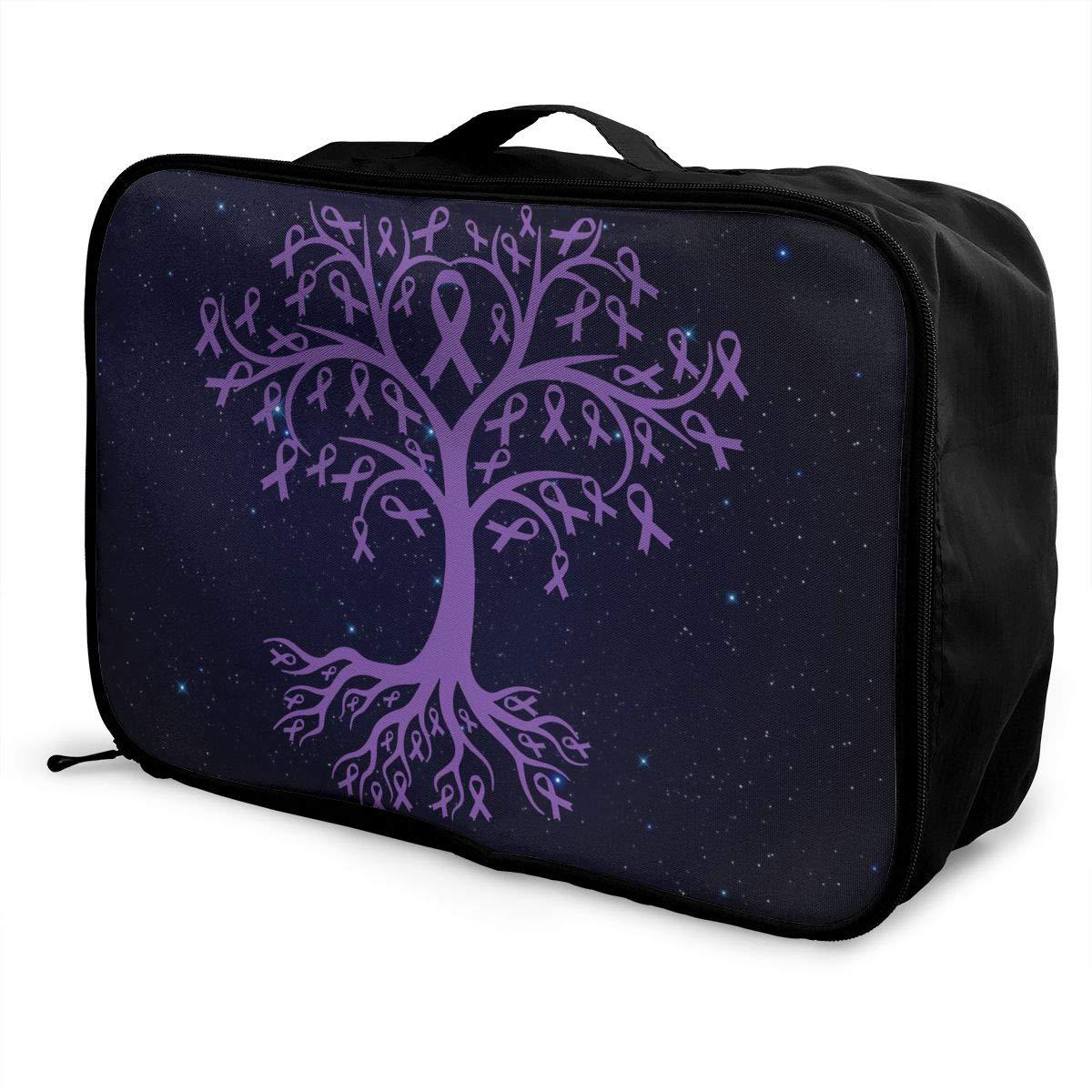 Leiomyosarcoma Cancer Awareness Tree Roots Luggage Bag Capacity Portable Large Travel Duffel Bag Travel Makeup Bag