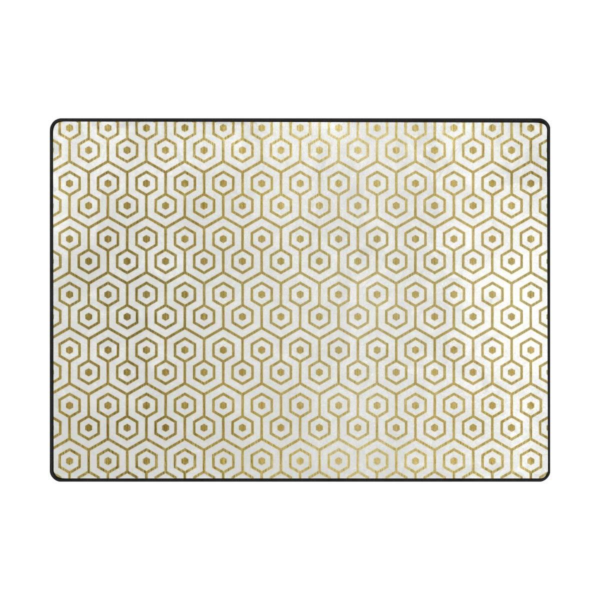 63 x 48 inch DEZIRO golden Combined Geometry Graphics Polyester Doormat Area Rug Carpet Entry Way Floor Mats shoes Scraper Home Dec Anti-Slip Washable