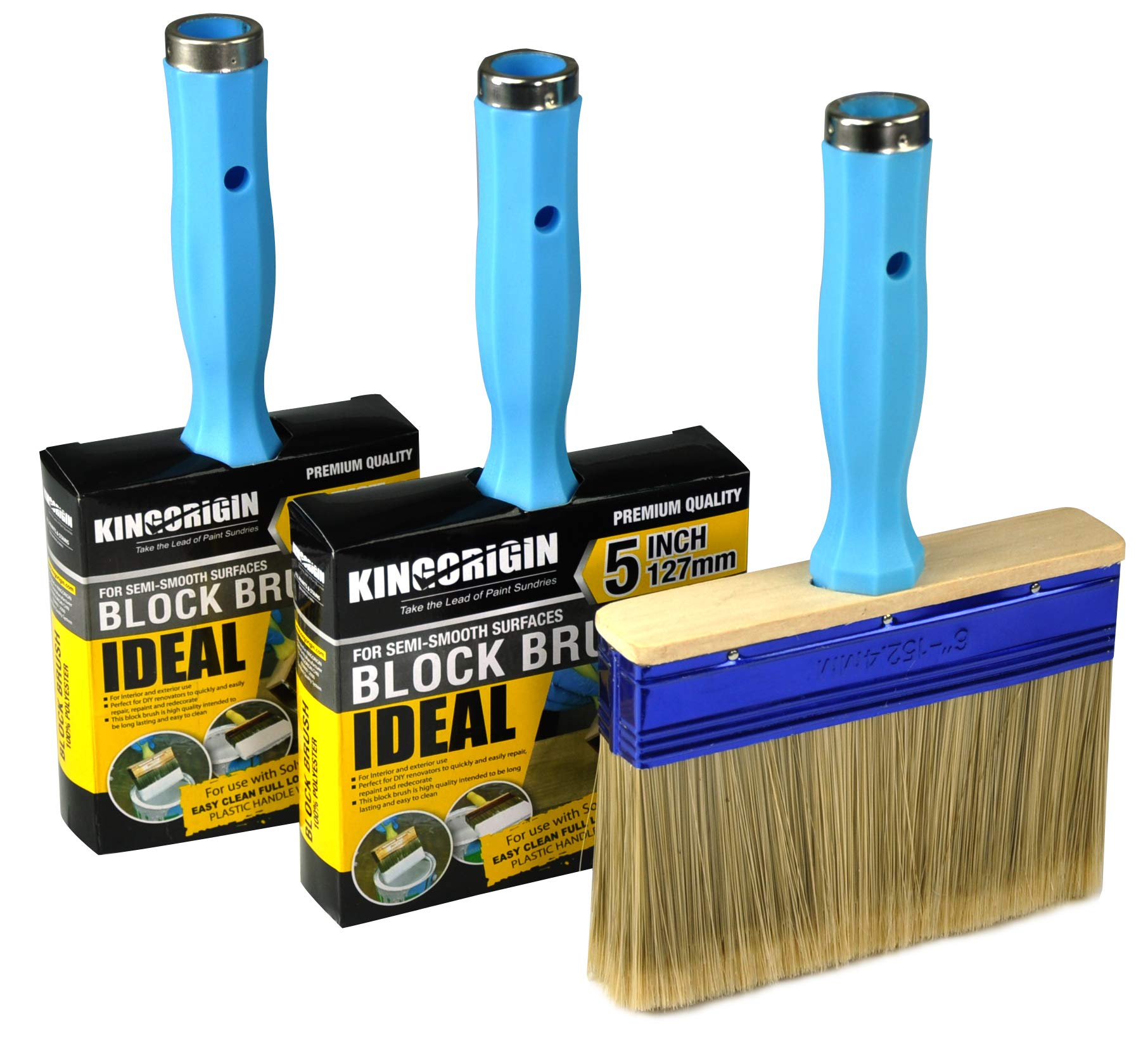 3 Piece (4,5,6inch) Heavy Duty Professional Stain Brush, Paint Brush,Paint Brushes, Double Thick 1.2 inch,Fence Brush,Paint Brush for Walls,Painters Paint Brush,Tool Set,Home Repair Tools,Tool kit by KingOrigin