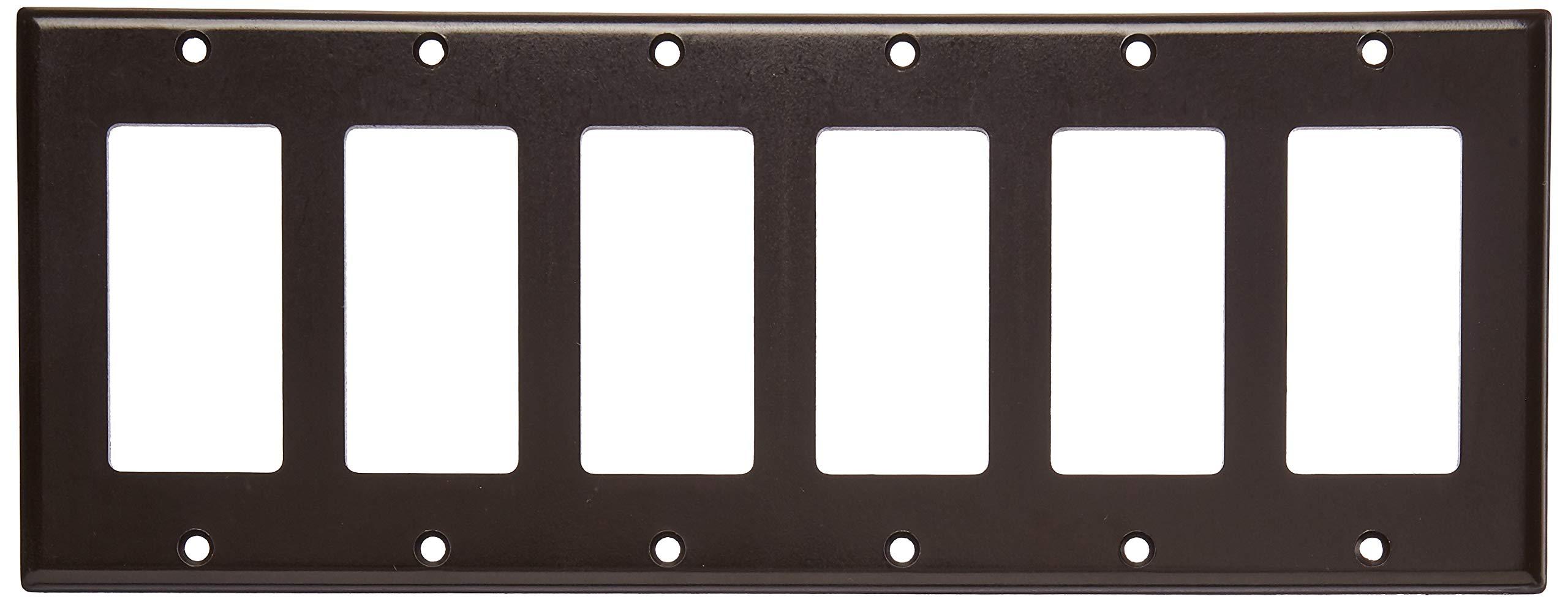Leviton 80436 6-Gang Decora/GFCI Device Decora Wallplate, Standard Size, Thermoset, Device Mount, Brown, 10-Pack