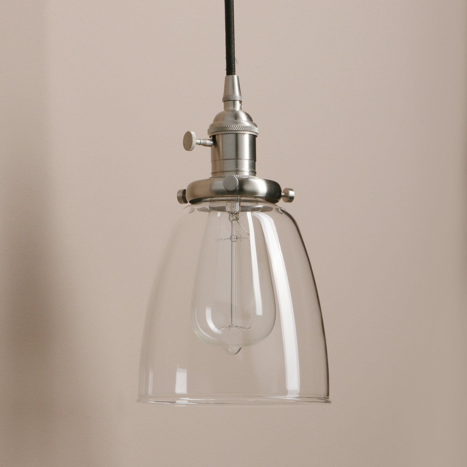 Pathson Industrial 3-Light Pendant Lighting Kitchen Island Hanging Lamps with Oval Clear Glass Shade Chandelier Ceiling Light Fixture (Brushed Steel) by Pathson (Image #6)