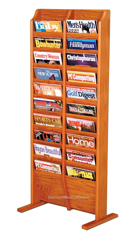 DMD Free Standing Magazine Rack, 20 Pocket, Wood, Medium Oak Finish