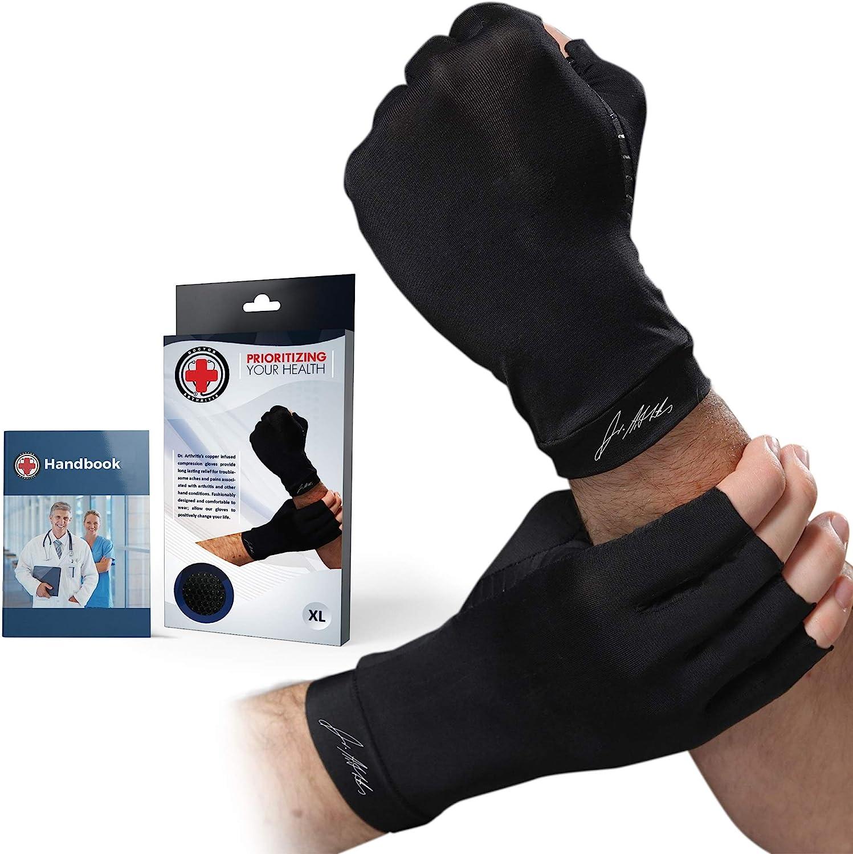 Dr. Arthritis Gants de compression en cuivre contenant un manuel médical écrit sur les symptômes articulaires, la maladie de Raynauds, le canal carpien et les affections des mains L Noir