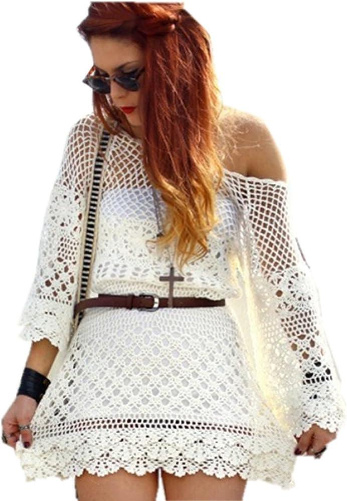 Paquete De 2 Verano Señora Crochet Cuello Redondo Playa Bikini De La Blusa, Beige-AllCode: Amazon.es: Ropa y accesorios