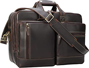 """Men Leather 17/"""" Laptop Briefcase Handbag Travel Bag Shoulder Messenger Bag TOTE"""