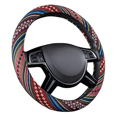 CAR PASS New Arrival Flax Cloth Pretty Ethnic Style Universal Fit Steering Wheel Cover, Fit for Suvs,Sedans,Cars,Trucks (Colorful): Automotive