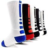 Basketball Socks 5 Pack Athletic Crew Socks Compression Sports Socks for Boy Girl Men Women