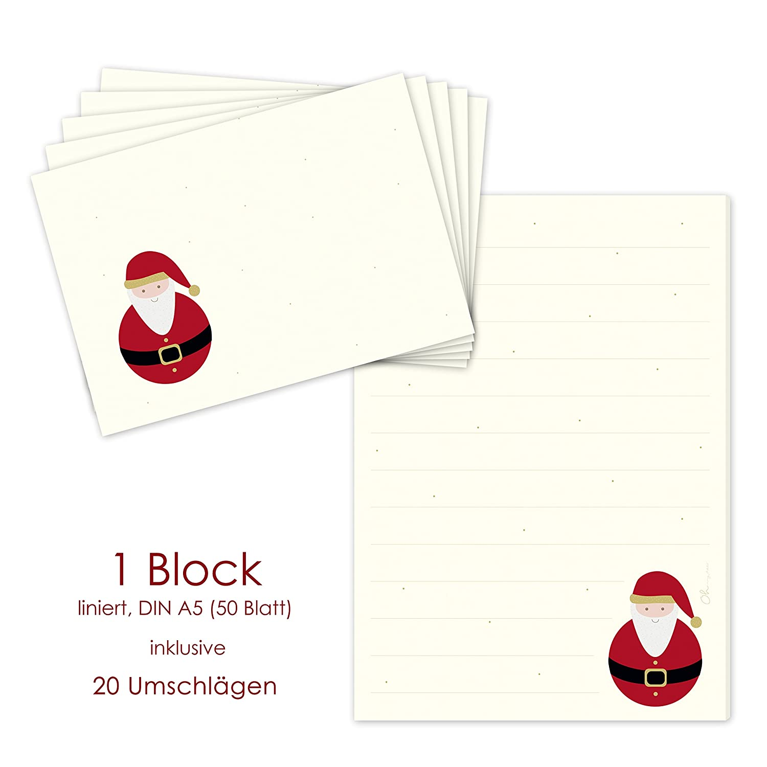 """Santa Claus"" writing pad, DIN A5, ruled paper + 20 matching envelopes, Christmas stationery set, wish list notes emufarm"