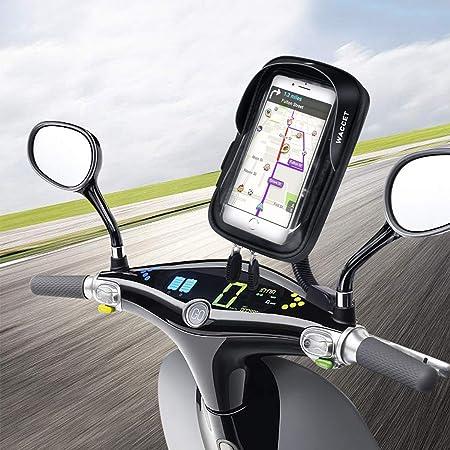 WACCET Soporte Movil Moto Impermeable Motocicleta Teléfono Soporte con Pantalla Táctil Sensible Soporte Movil Scooter para iPhone XS MAX/XR/X/8Plus Samsung S9/S8/S7 hasta 6,5 Smartphone: Amazon.es: Electrónica