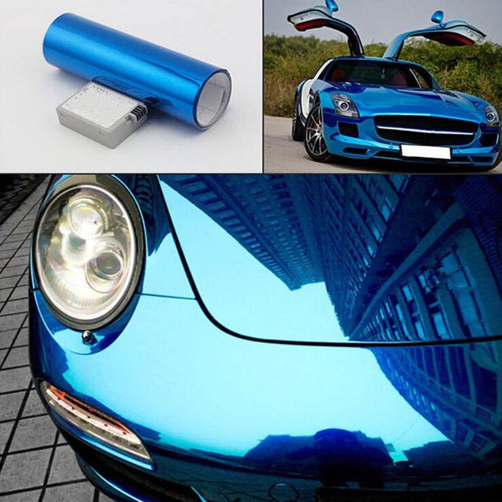 L/ámina de vinilo flexible para coches HOHO 152 cm x 50/cm sin burbujas de aire brillante acabado cromado con efecto espejo