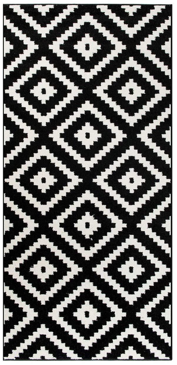 Tapiso Luxury Läufer Flur Küche Korridor Kurzflor Teppich Brücke Designer Schwarz Weiss Karo Marokkanisch Geometrisch Muster ÖKOTEX 120 x 200 cm B07KJMF7VQ Lufer