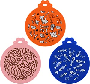 CM Pet Can Cover Lid Universal Silicone Pet Food Can Tops Cover for Pet Dog Cat Can Food, Fits Most Standard Sizes, 3 Pcs Assorted Colors (Blue + Orange + Pink (3 Pcs))