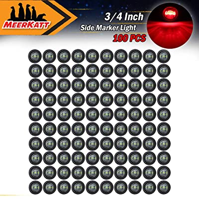 Meerkatt (Pack of 100) 3/4 Inch Mini Round Smoked Lens Red LED Clearance Indicator Light Side Marker SMD Lamp Camper Truck Trailer Lorry Boat Universal included rubber grommets 12V DC Waterproof: Automotive