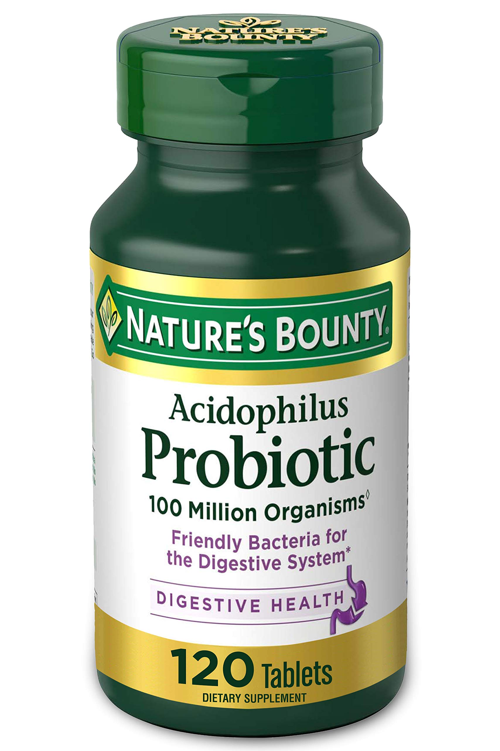 Acidophilus Probiotic by Nature's Bounty, Dietary Supplement, For Digestive Health, 120 Tablets (Packaging May Vary)
