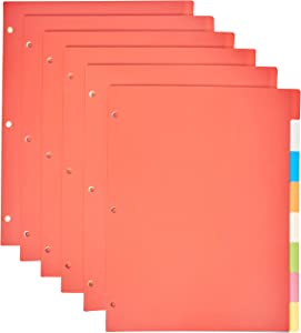 AmazonBasics 3 Ring Binder Dividers with 8 Tabs, Pack of 6 Sets